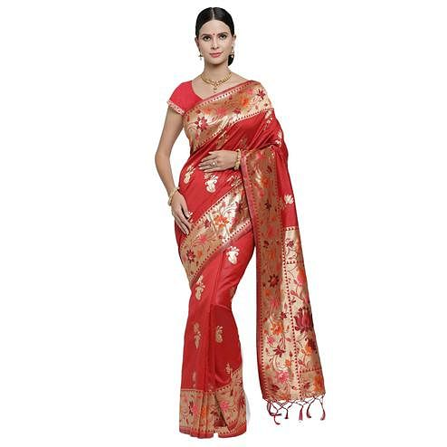 Magnetic Red Colored Festive Wear Woven Banarasi Art Silk Saree
