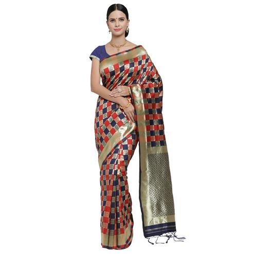 Hypnotic Blue-Red Colored Festive Wear Woven Banarasi Art Silk Saree