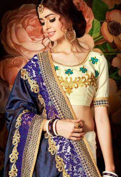 Sizzling Royal Blue And Cream Designer Embroidered Half N Half Saree