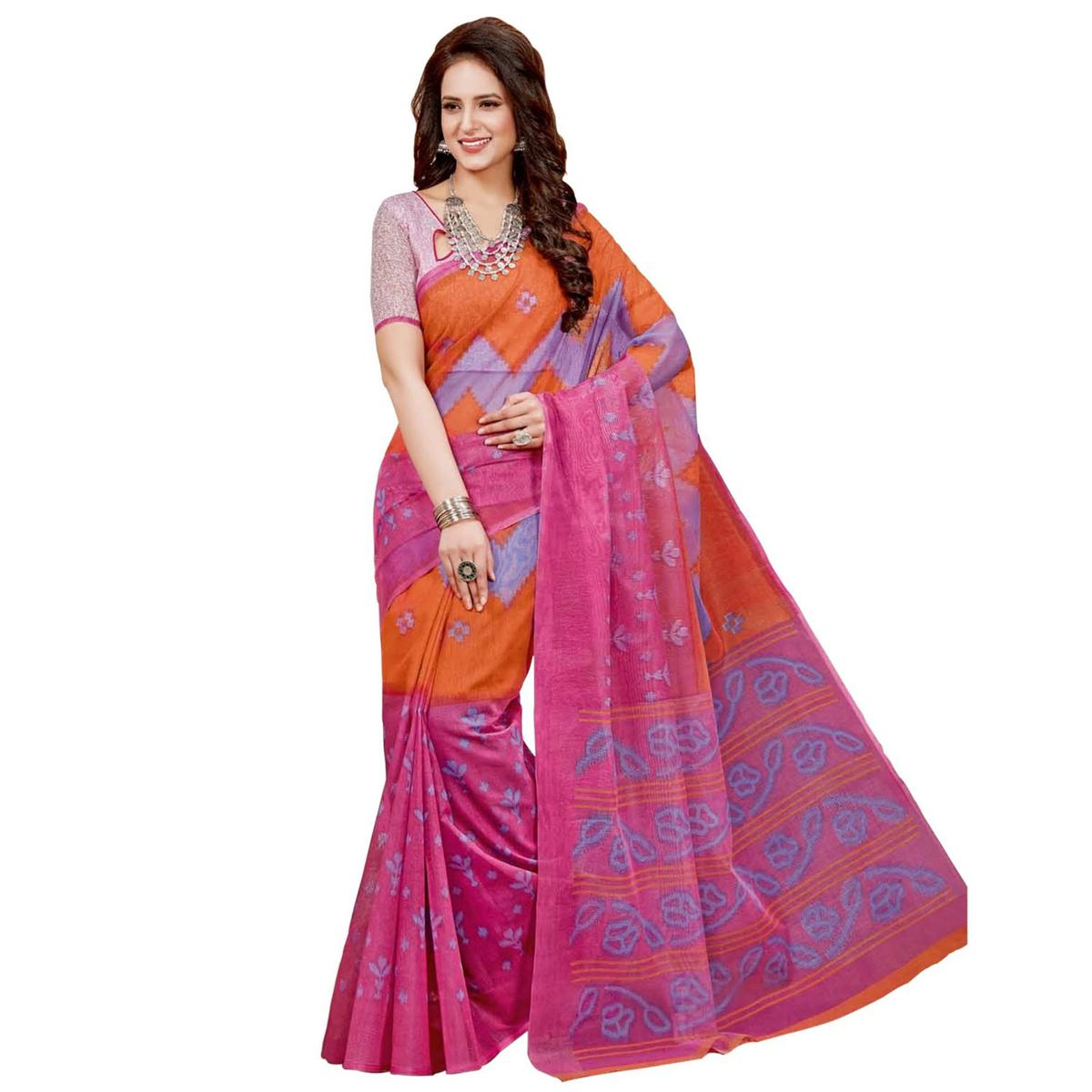 Attractive Pink-Orange Casual Printed Colored Chanderi Saree