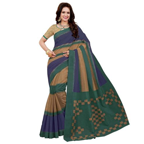 Beautiful Multi Colored Casual Printed Colored Chanderi Saree