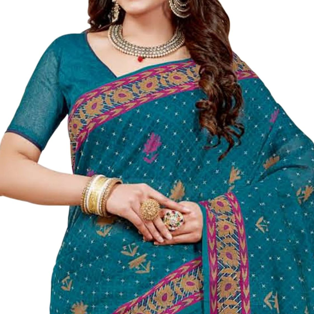Graceful Teal Blue Colored Casual Printed Chanderi Saree