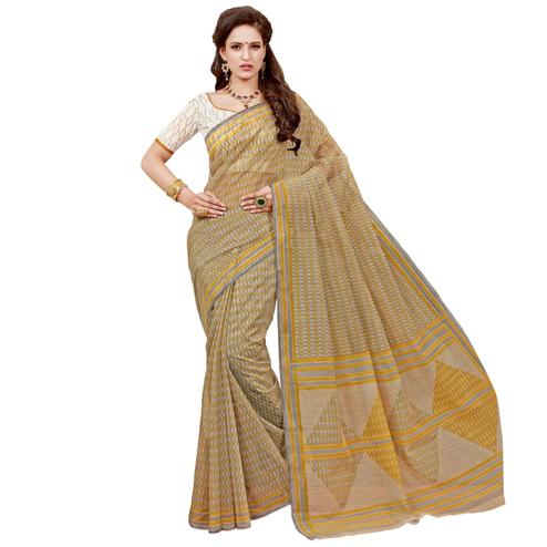 Blooming Beige Colored Casual Printed Chanderi Saree