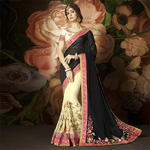 Graceful Black And Cream Designer Embroidered Half N Half Saree