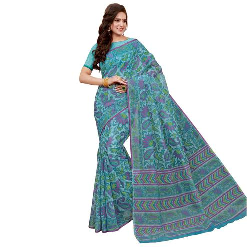 Charming Sky Blue Colored Casual Printed Chanderi Saree