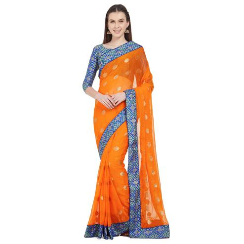 Jazzy Light Orange Colored Festive Wear Woven Chiffon Silk Saree