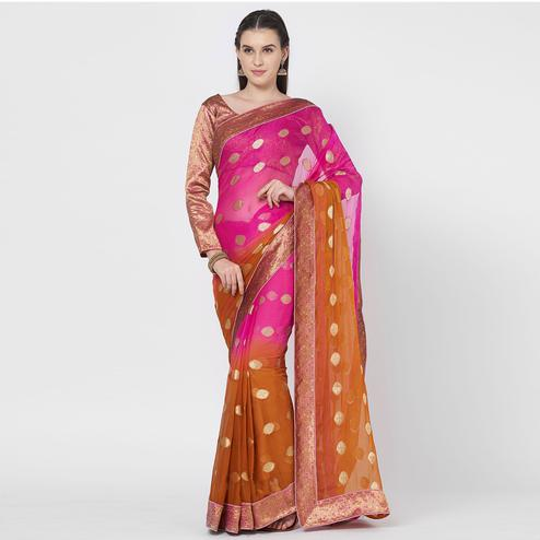 Delightful Brown-Pink Colored Festive Wear Woven Chiffon Silk Saree