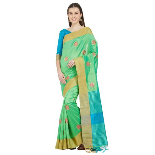 Gorgeous Green Colored Festive Wear Woven Cotton Silk Saree
