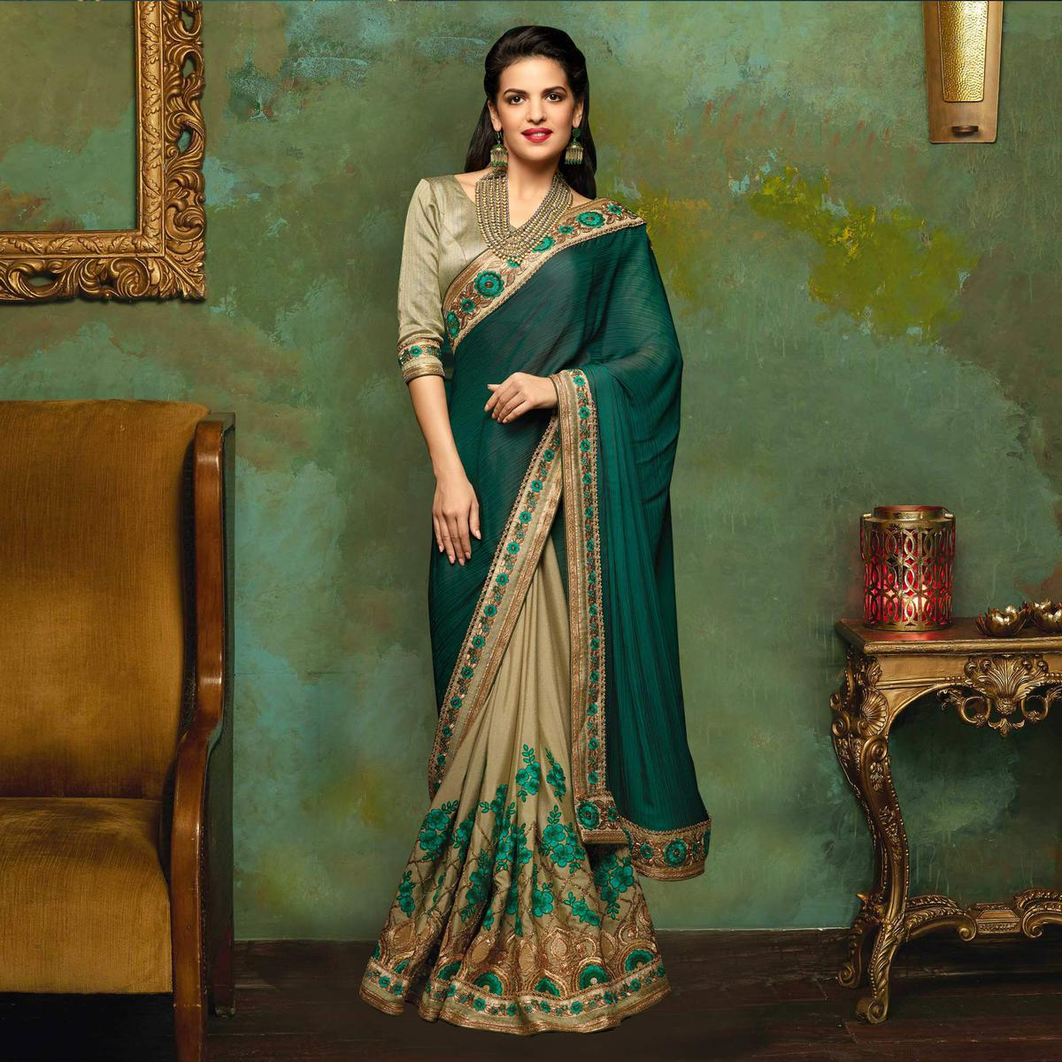 Classy Green Designer Embroidered Satin Silk Partywear Saree