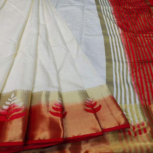 Ethnic Offwhite-Red Colored Festive Wear Woven Banarasi Silk Saree