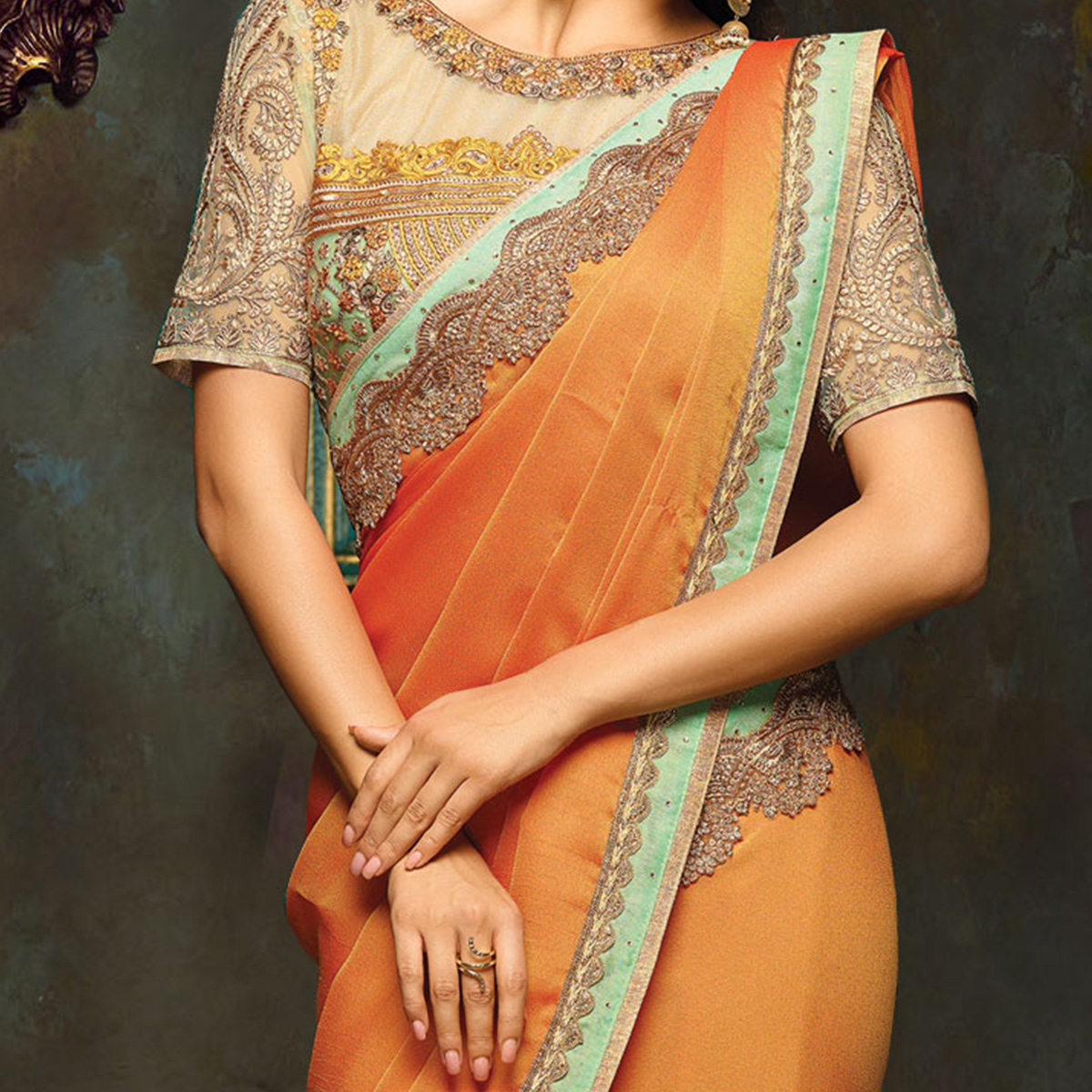 Ravishing Orange Designer Embroidered Moss Georgette Partywear Saree