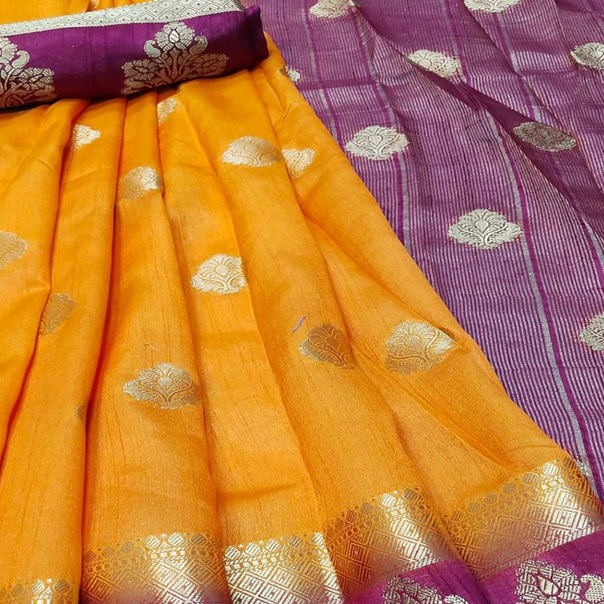 Ravishing Yellow Colored Festive Wear Woven Banarasi Silk Saree