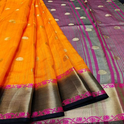 Surpassing Yellow Colored Festive Wear Woven Banarasi Silk Saree