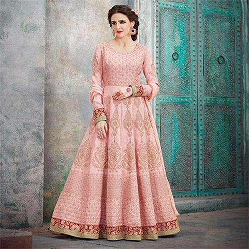 Elegant Pink Designer Embroidered Anarkali Gown