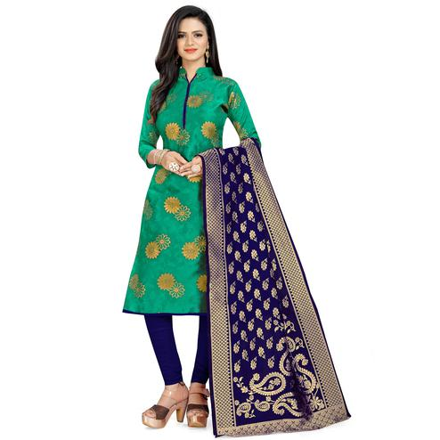 Desirable Green Colored Party Wear Woven Banarasi Silk Dress Material