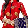Trendy Red Colored Party Wear Woven Banarasi Silk Dress Material