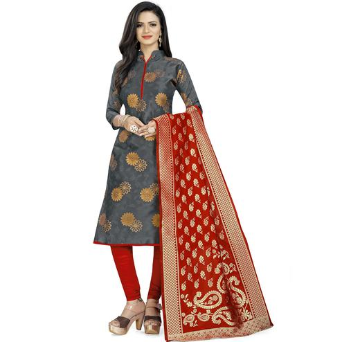 Pleasant Grey Colored Party Wear Woven Banarasi Silk Dress Material