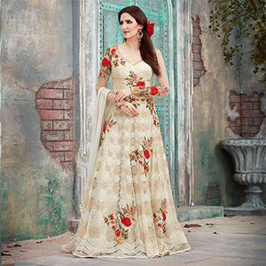 Beautiful Cream Floral Embroidered Designer Anarkali Gown