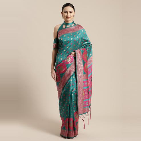 Refreshing Teal Green Colored Festive Wear Woven Silk Belnd Saree With Tassels