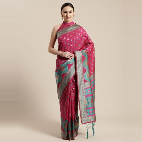 Magnetic Pink Colored Festive Wear Woven Silk Belnd Saree With Tassels