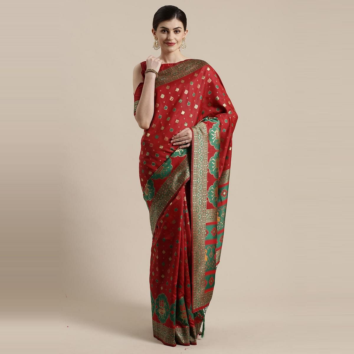 Hypnotic Maroon Colored Festive Wear Woven Silk Belnd Saree With Tassels