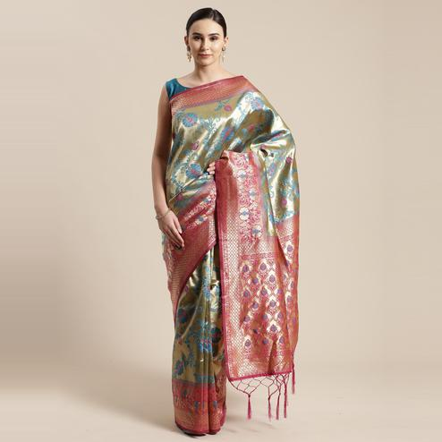 Flattering Gold-Blue Colored Festive Wear Woven Silk Belnd Saree With Tassels