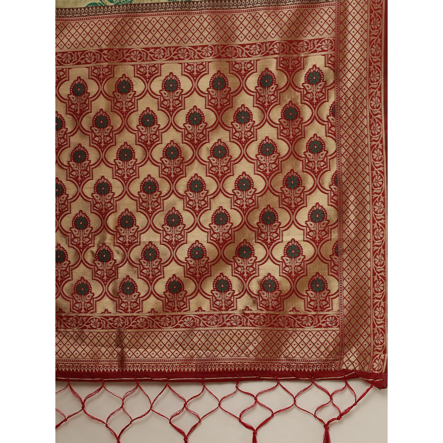 Excellent Gold-Green Colored Festive Wear Woven Silk Belnd Saree With Tassels