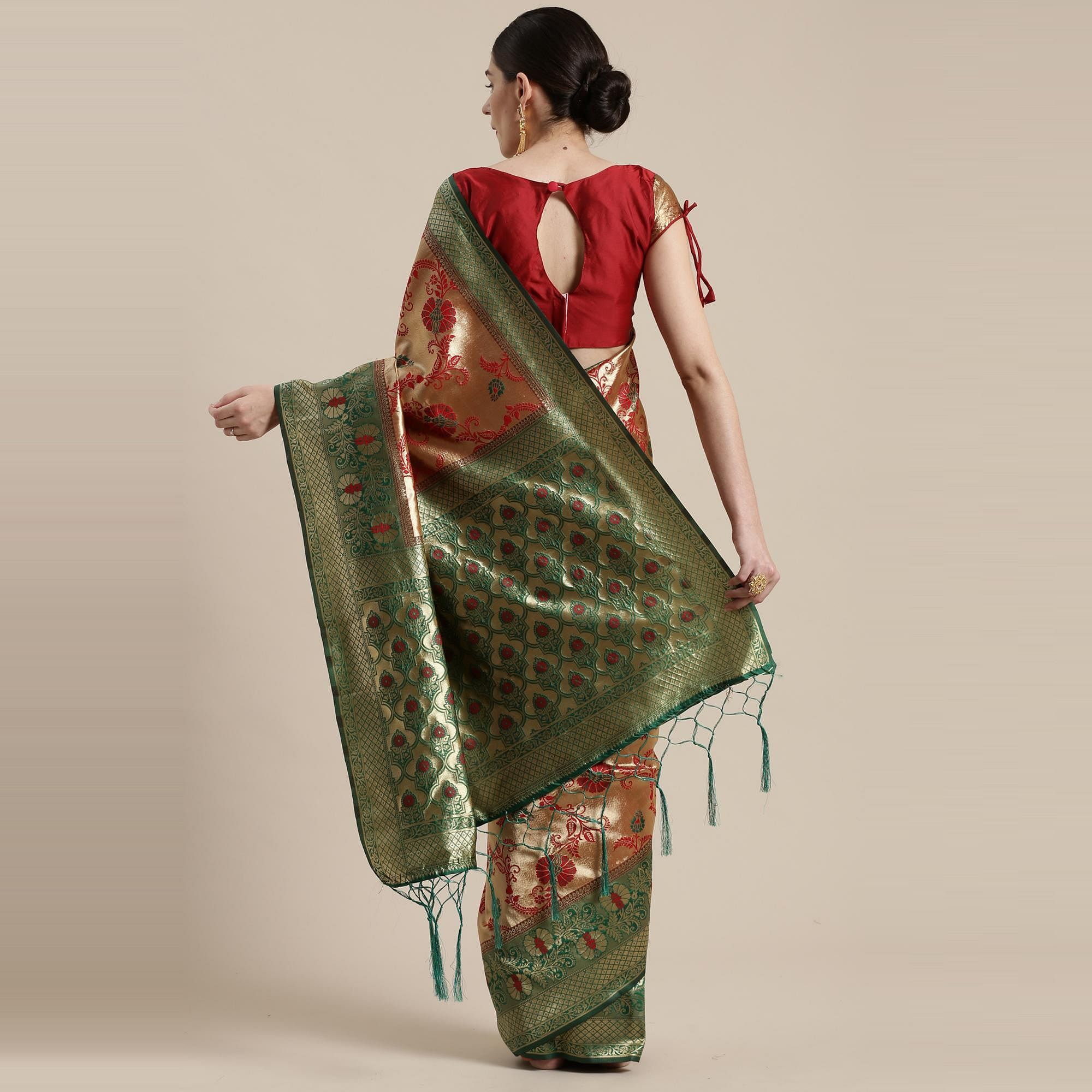Preferable Gold-Red Colored Festive Wear Woven Silk Belnd Saree With Tassels