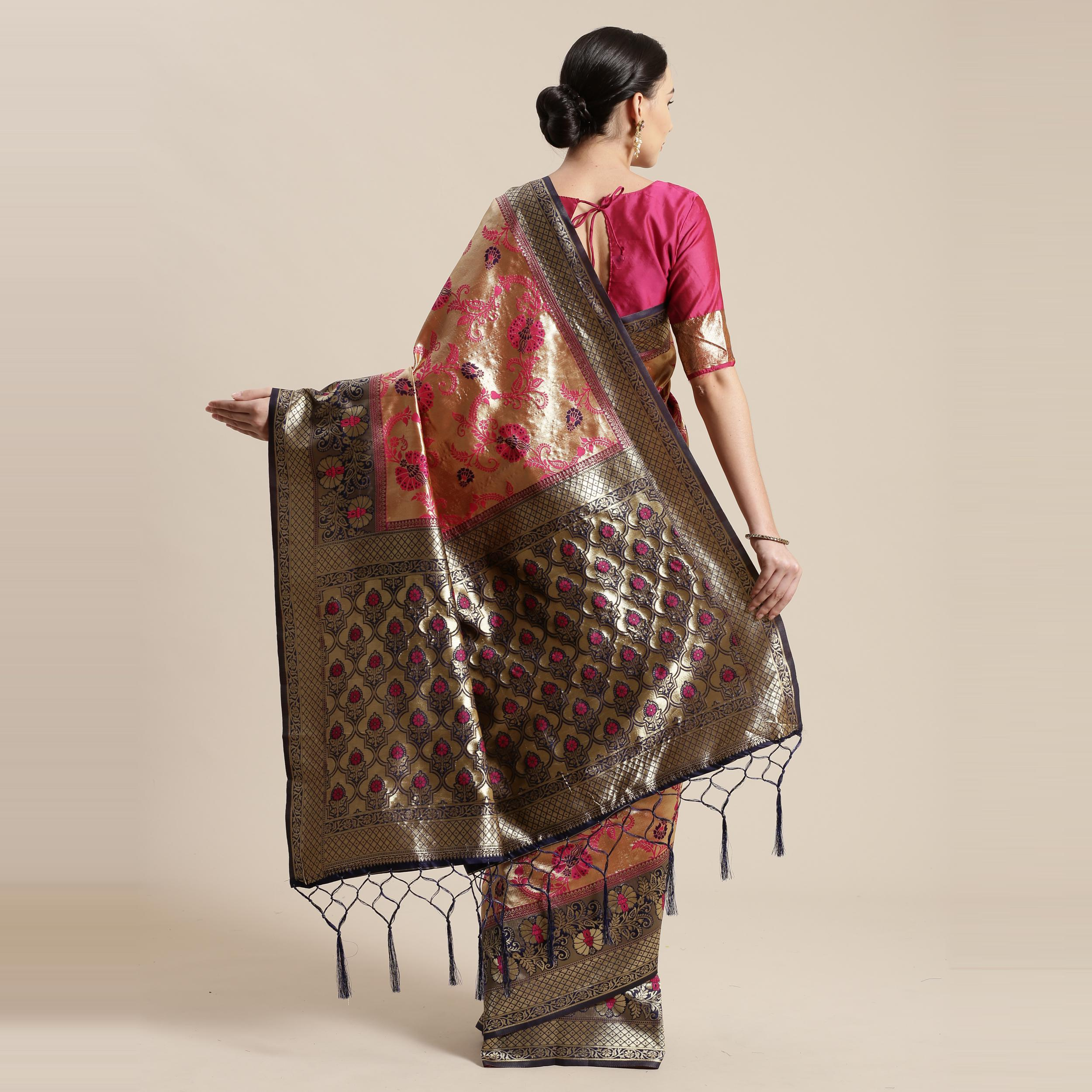 Marvellous Gold-Pink Colored Festive Wear Woven Silk Belnd Saree With Tassels