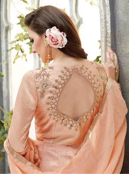 Elegant Peach Designer Embroidered Anarkali Suit