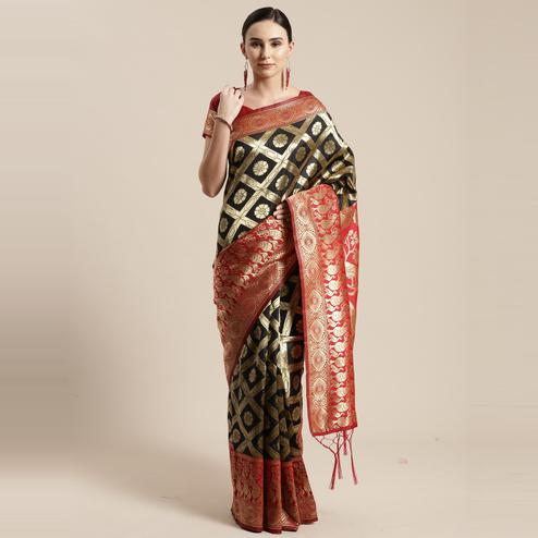 Alluring Black Colored Festive Wear Woven Silk Belnd Saree With Tassels