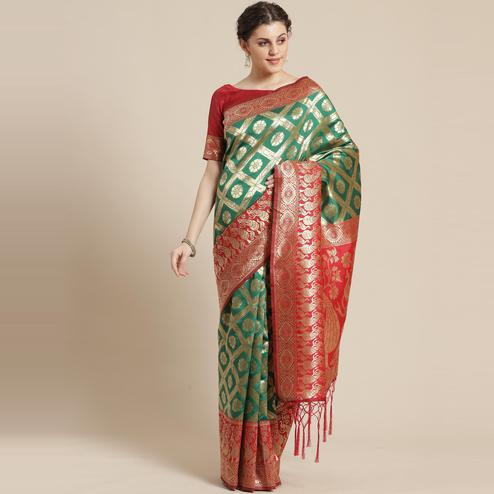 Ethnic Green Colored Festive Wear Woven Silk Belnd Saree With Tassels