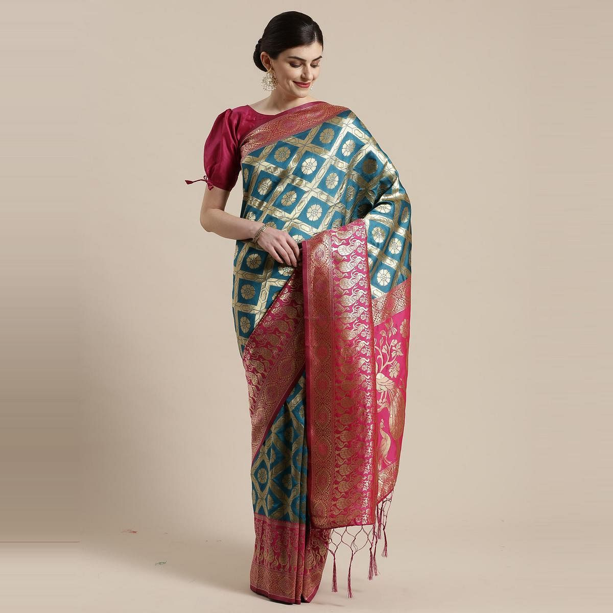 Ravishing Blue Colored Festive Wear Woven Silk Belnd Saree With Tassels