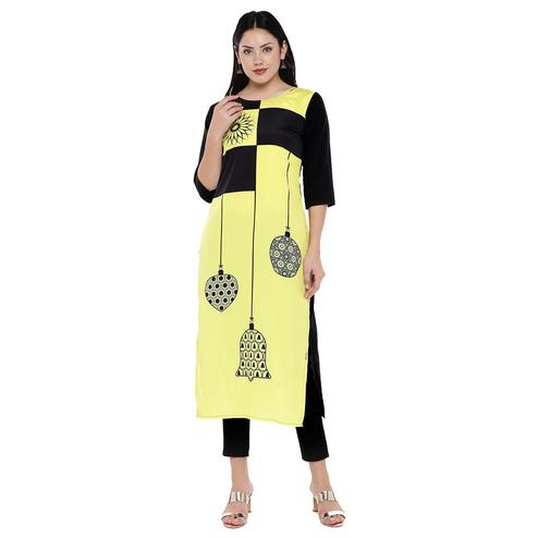 Refreshing Yellow Colored Casual Wear Digital Printed Calf-Length Straight Crepe Kurti