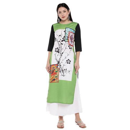 Magnetic Green Colored Casual Wear Digital Printed Calf-Length Straight Crepe Kurti