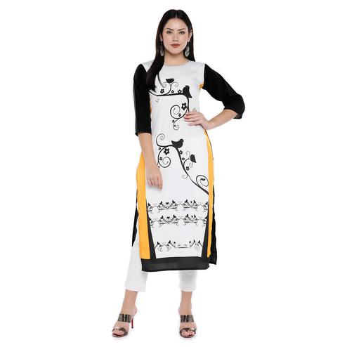 Hypnotic White Colored Casual Wear Bird Digital Printed Calf-Length Straight Crepe Kurti