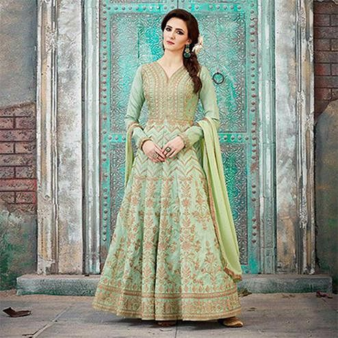 Regal Green Designer Embroidered Anarkali Gown