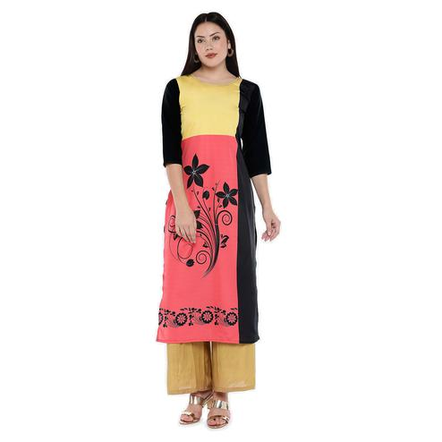 Flattering Pink-Yellow Colored Casual Wear Floral Digital Printed Calf-Length Straight Crepe Kurti