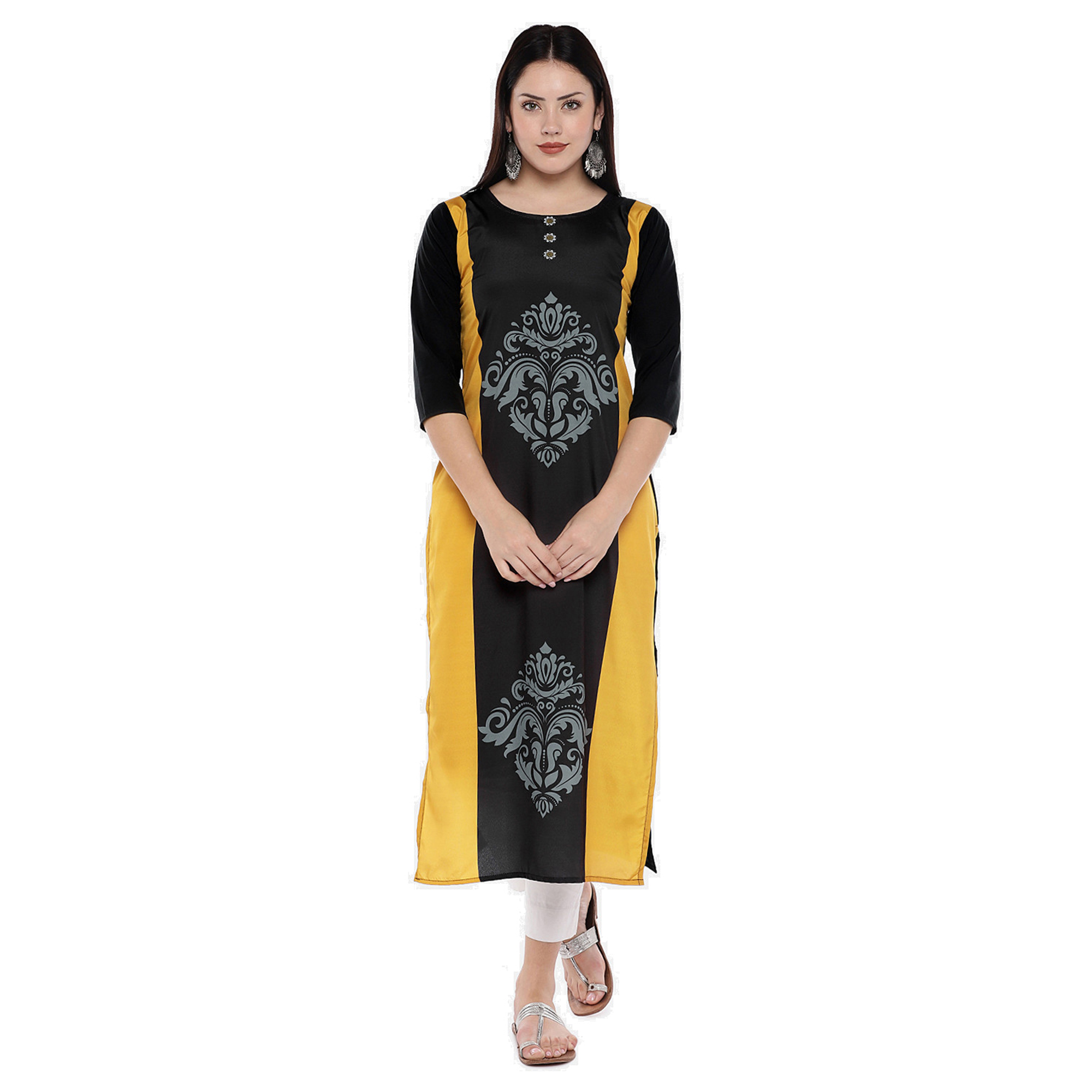 Excellent Black Colored Casual Wear Digital Printed Calf-Length Straight Crepe Kurti