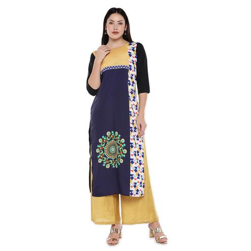 Preferable Blue Colored Casual Wear Geometric Digital Printed Calf-Length Straight Crepe Kurti