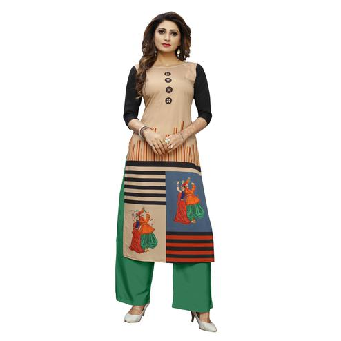 Marvellous Beige Colored Casual Wear Digital Printed Calf-Length Straight Crepe Kurti
