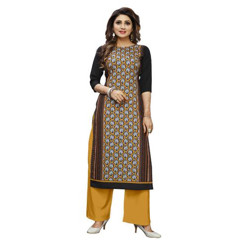 Flamboyant Multi Colored Casual Wear Digital Printed Calf-Length Straight Crepe Kurti