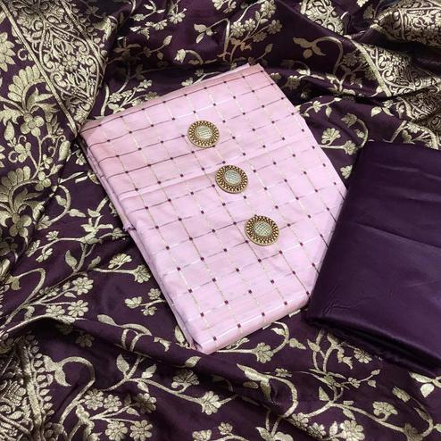 Demanding Light Purple Colored Festive Wear Woven Silk Dress Material