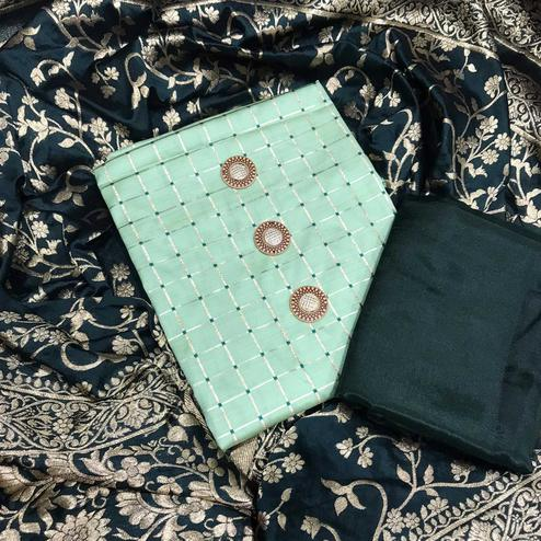 Magnetic Mint Green Colored Festive Wear Woven  Silk Dress Material