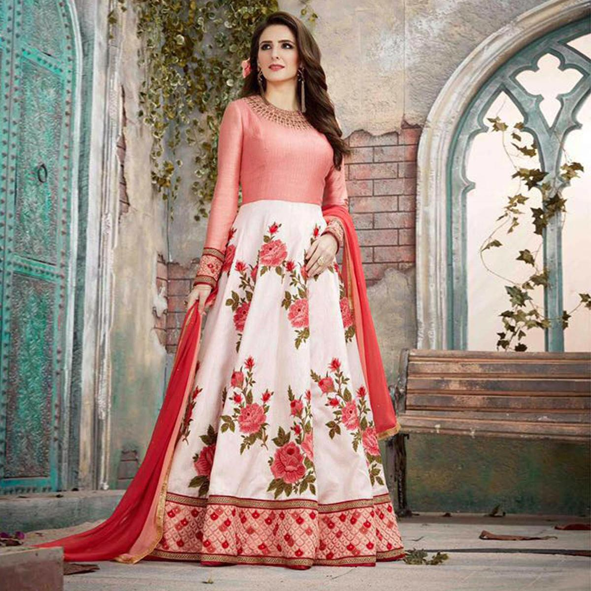 Stylish Peach And White Designer Embroidered Anarkali Gown
