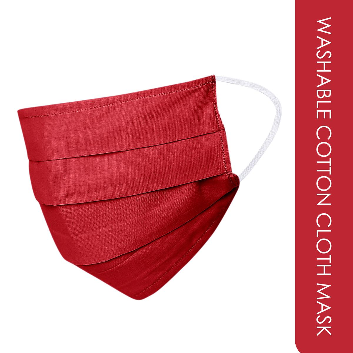 Red Colored Washable Cotton Cloth Mask