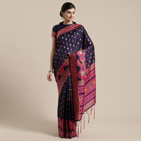 Elegant Navy Blue Colored Festive Wear Woven Silk Belnd Saree With Tassels