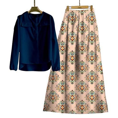 Adorable Navy Blue-Beige Colored Casual Wear Digital Printed Rayon Top-Skit Set