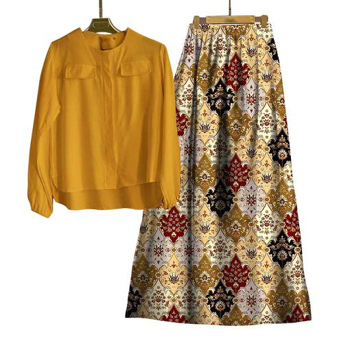 Glorious Yellow-Multi Colored Casual Wear Digital Printed Rayon Top-Skit Set