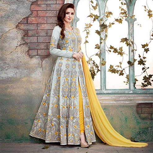 Classy Gray And Yellow Designer Embroidered Anarkali Suit
